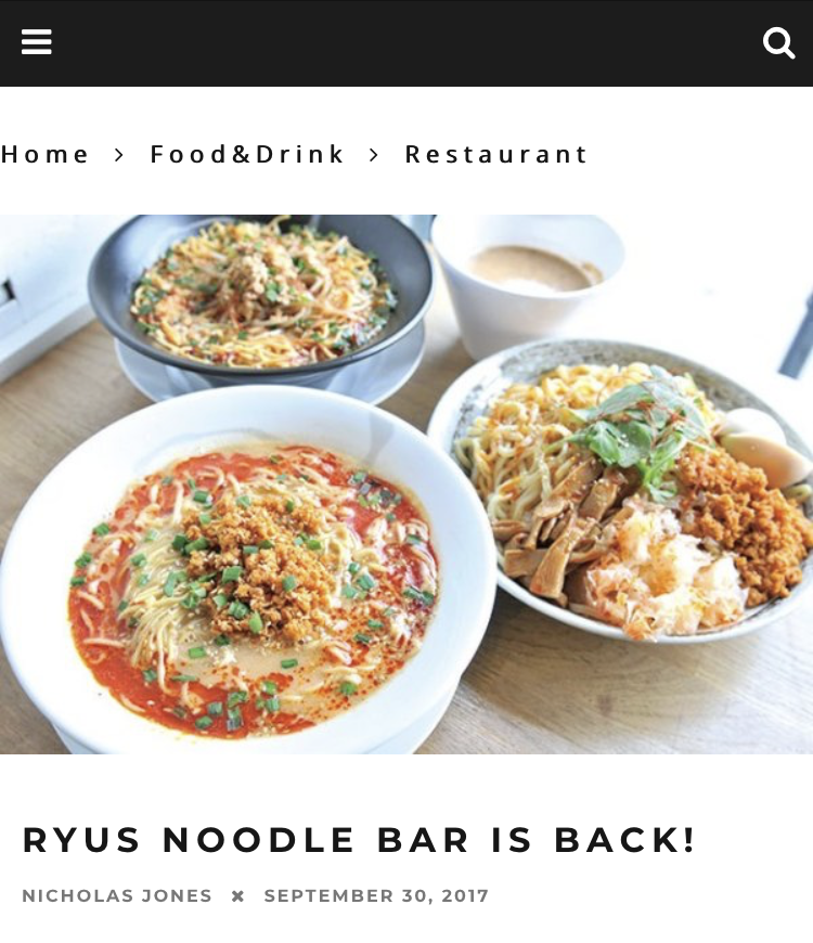 RYUS Noodle Bar is Back!