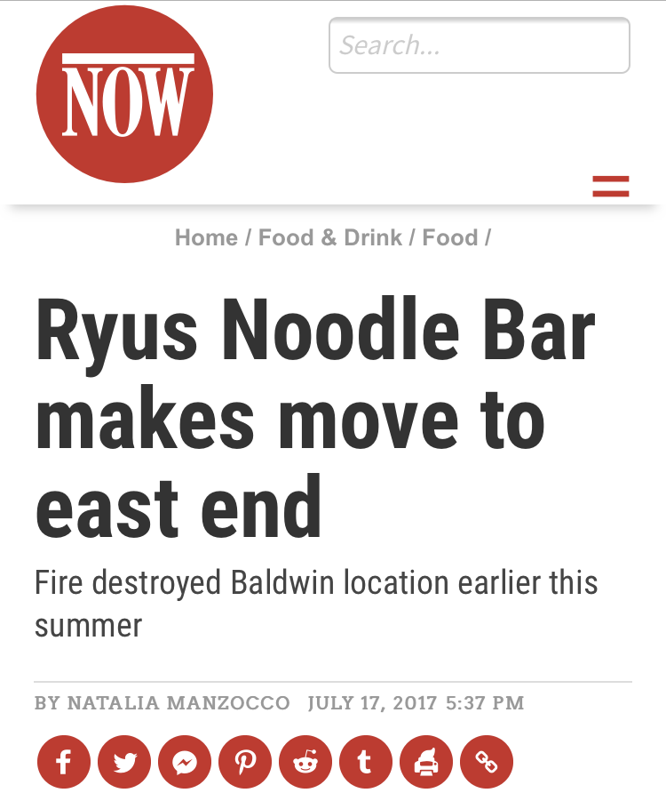 RYUS Noodle Bar makes move to east end